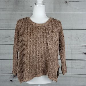 Free People • XS sweater oversized scoopneck brown